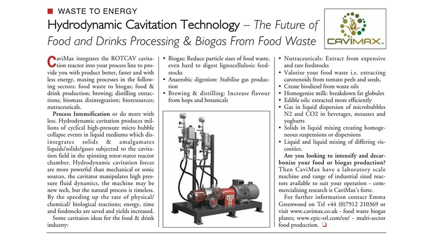 Cavimax e ROTOCAV su rivista Food and Drink Business Europe magazine